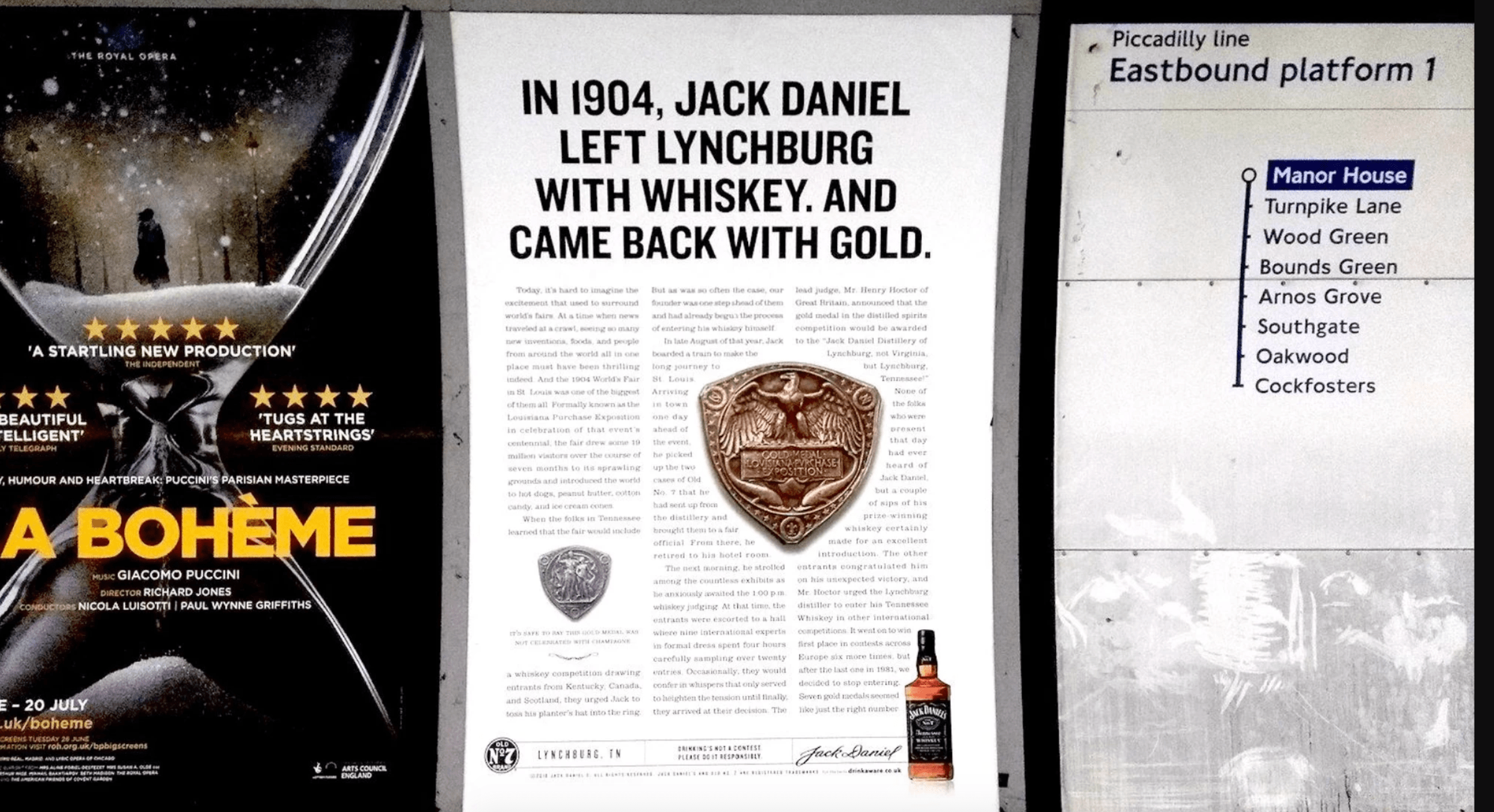 An image showing a long form advert on the London Underground by Jack Daniels