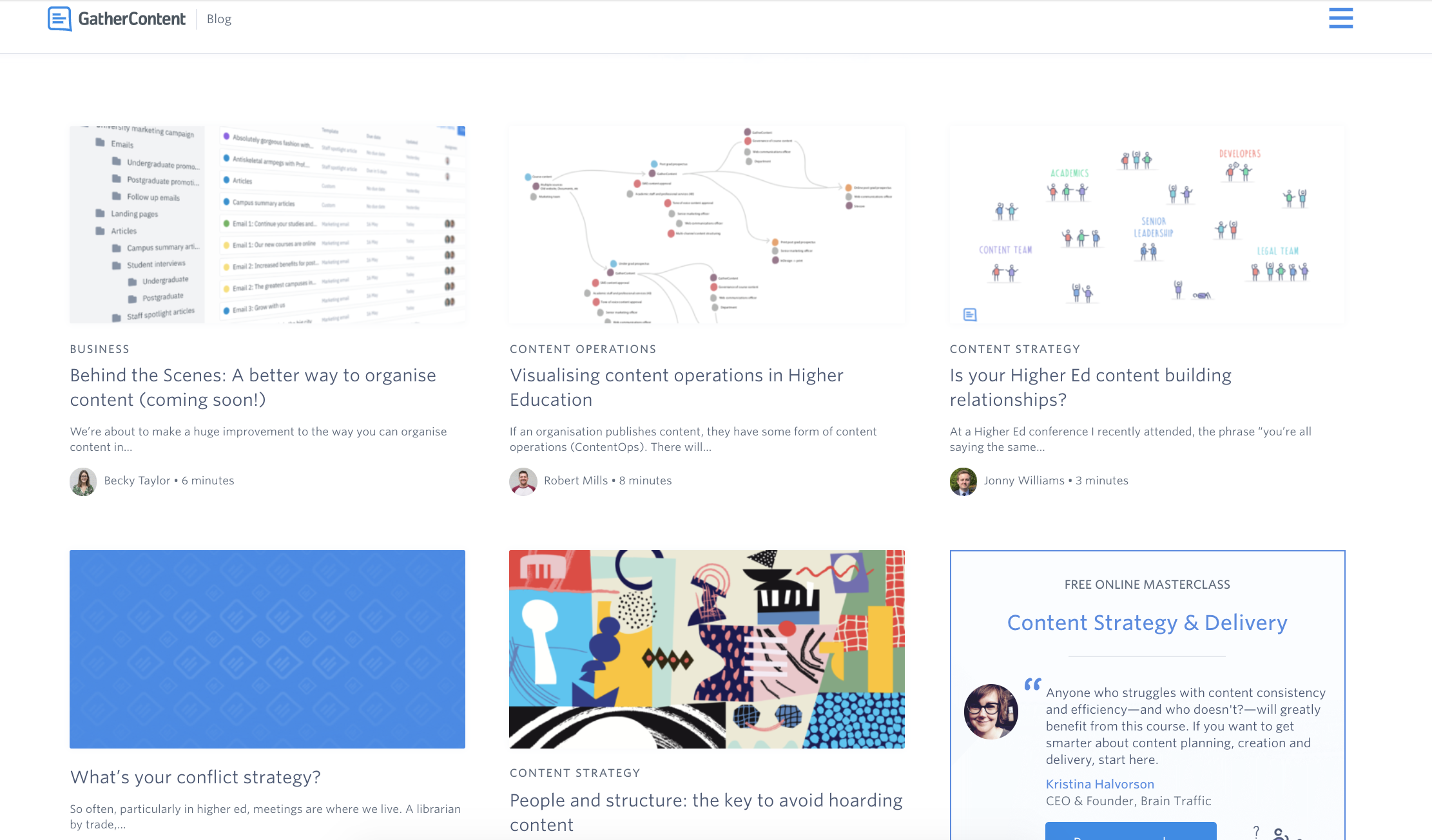 An image showing the GatherContent blog in April 2019 with different styles of thumbnail images for a selection of articles.