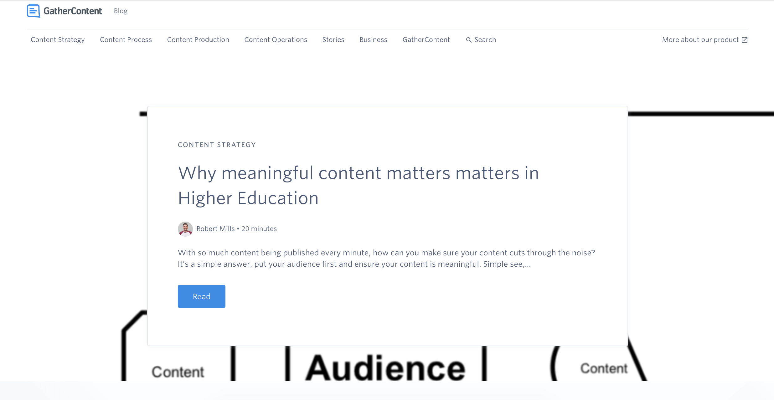 Image showing the homepage of the GatherContent blog in April 2019 with the article header image behind the snippet. Visually it looks messy as the image is mainly white.