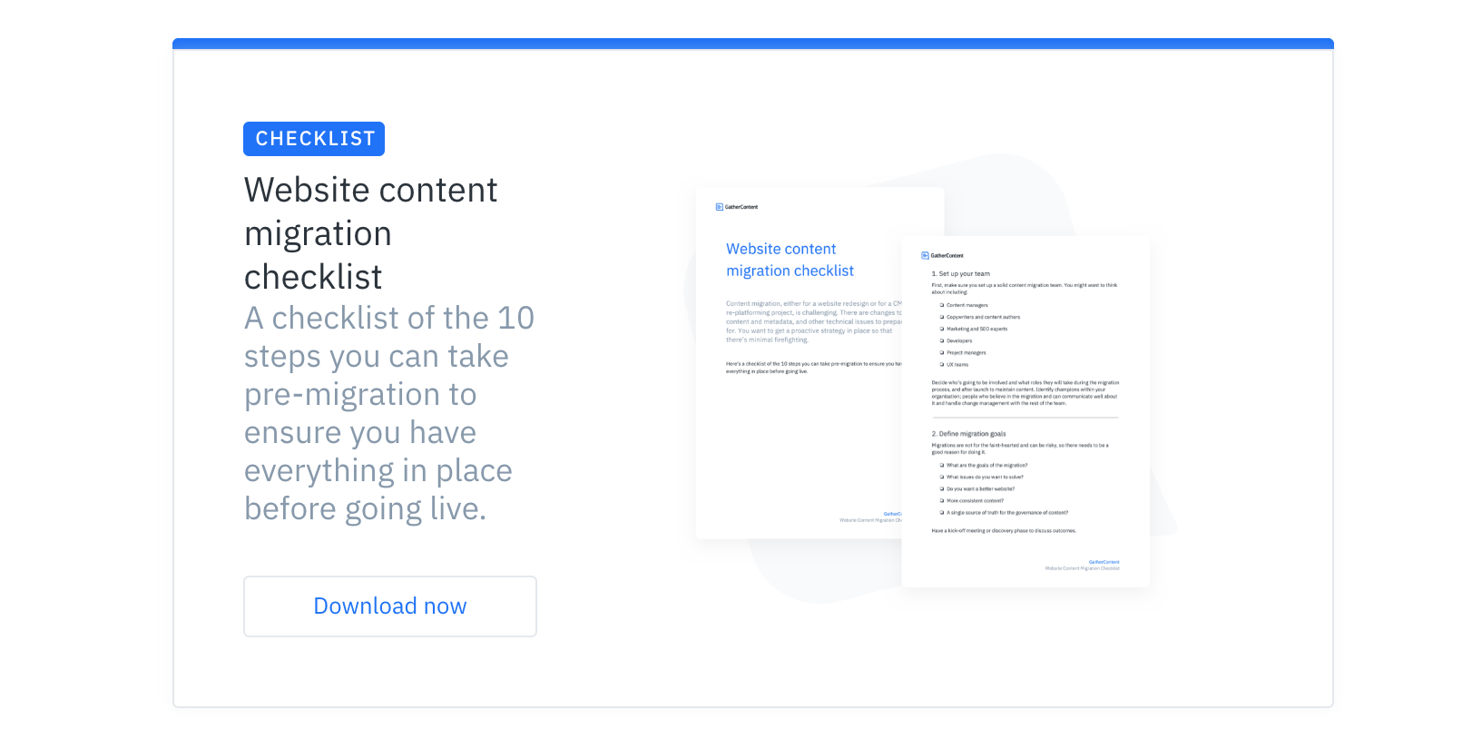 An image of a full width advert at the bottom of an article on the GatherContent blog. This one promotes a checklist and has a description and image of the checklist with a call to action to download.