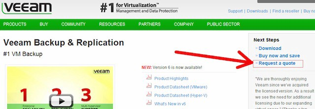 Veeam website homepage with arrow pointing to call to action microcopy that says request a quote
