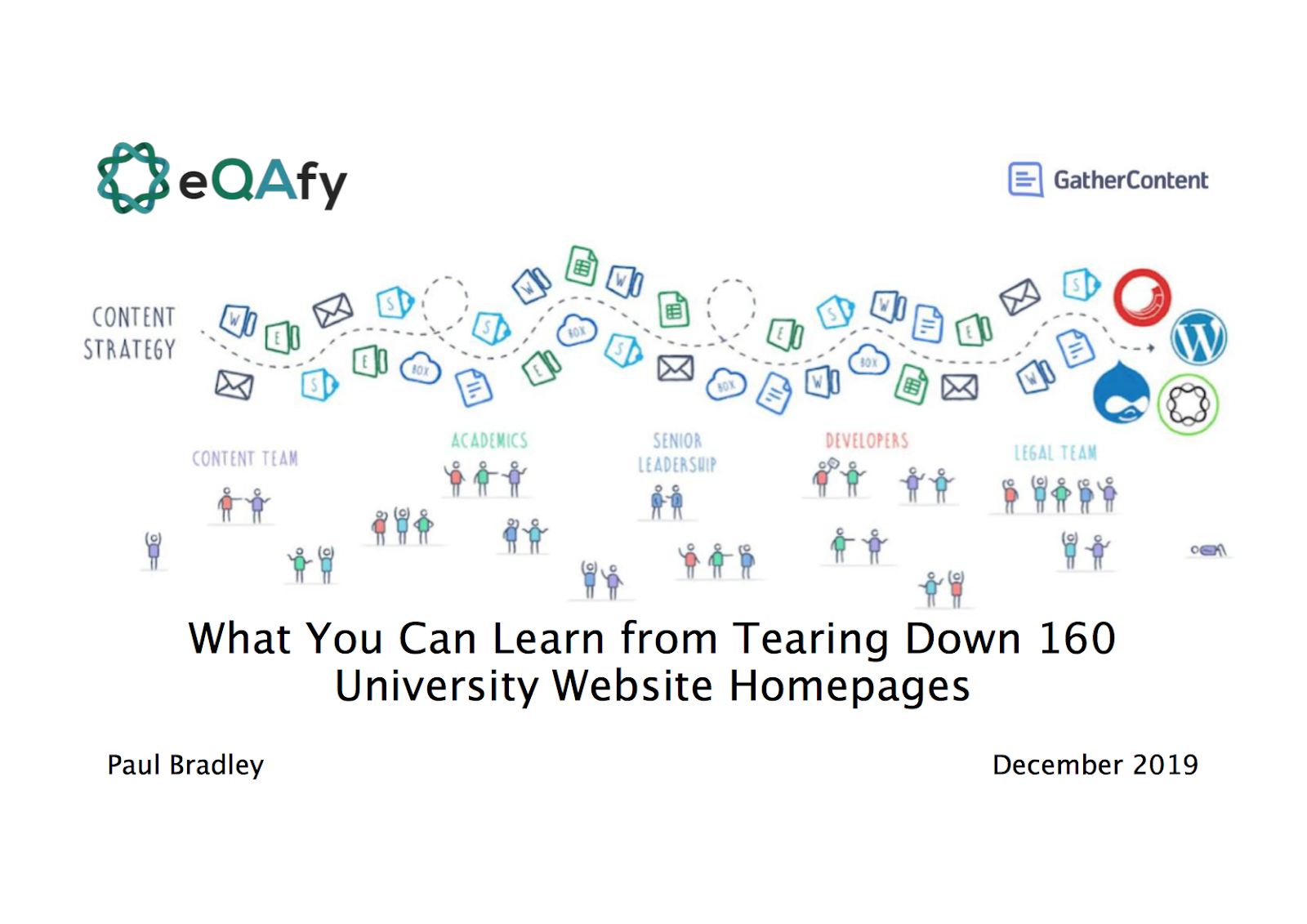 Slide showing the eQAfy and GatherContent logos, and the title 'What you can learn from tearing down 160 university website homepages.'