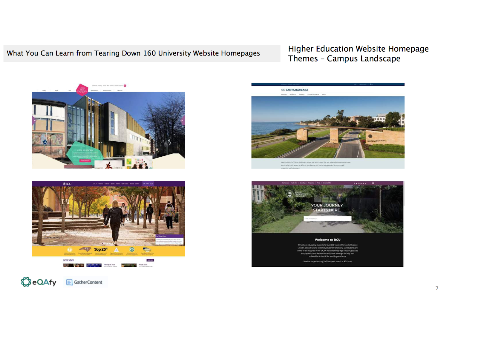 Slide showing four examples of the campus landscape theme