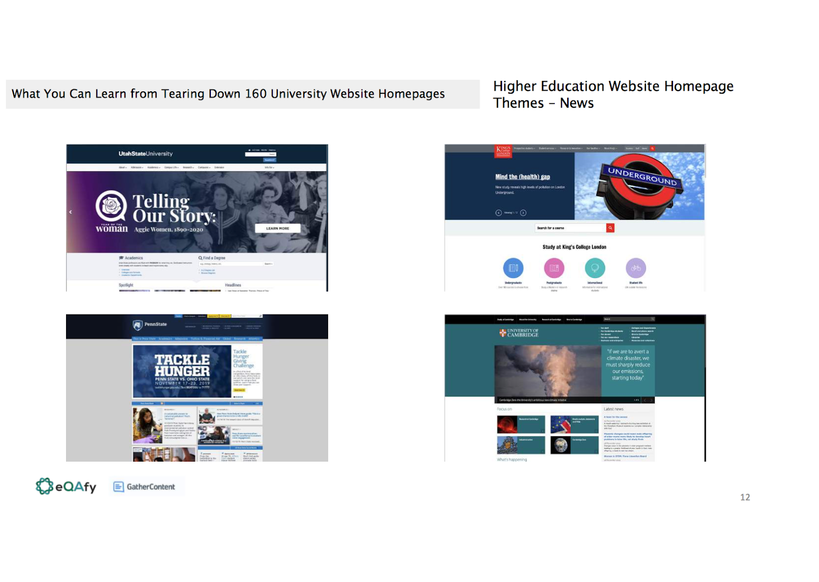 Slide showing four examples of the news theme