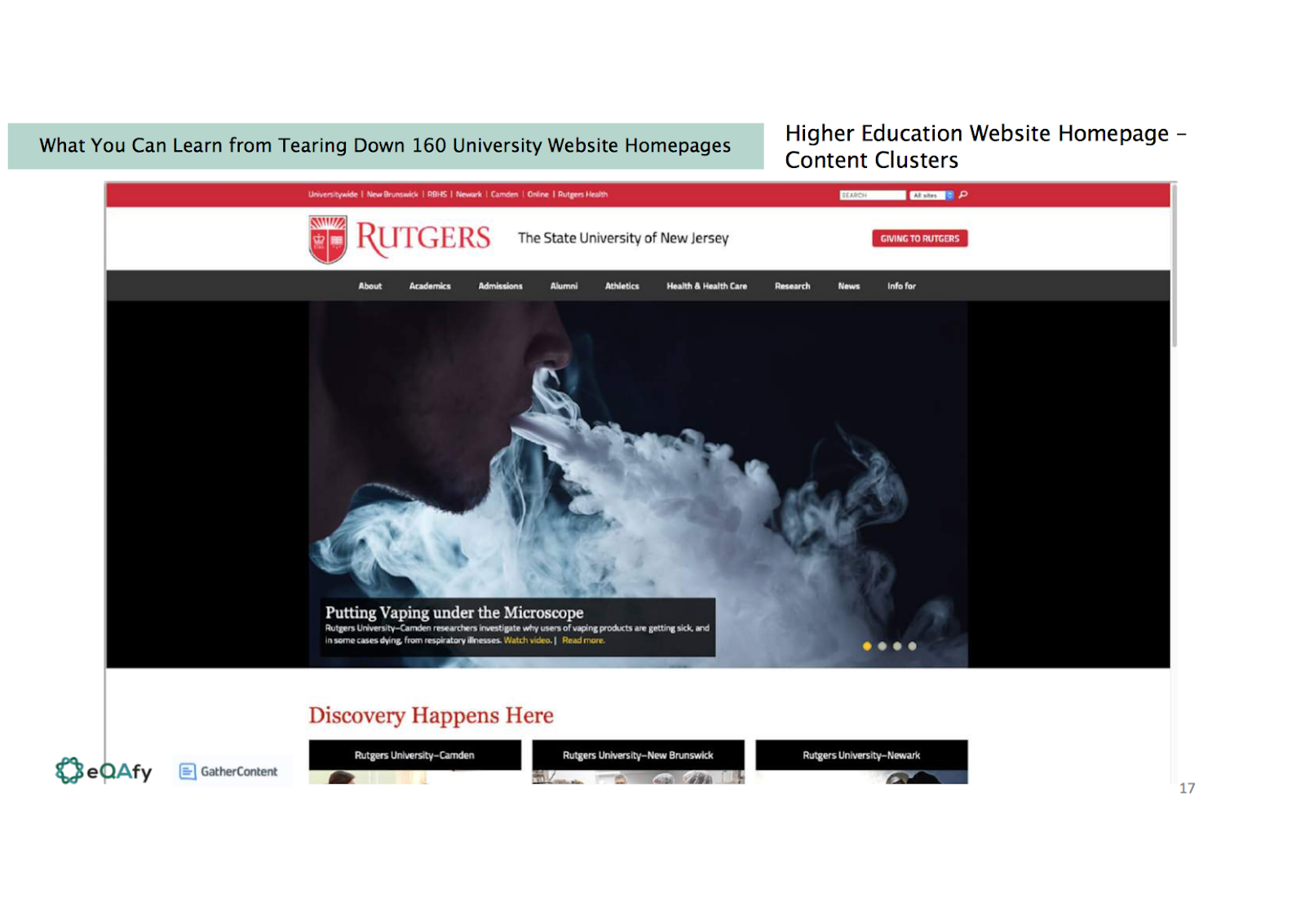 Slide showing the Rutgers university homepage with a carousel of images