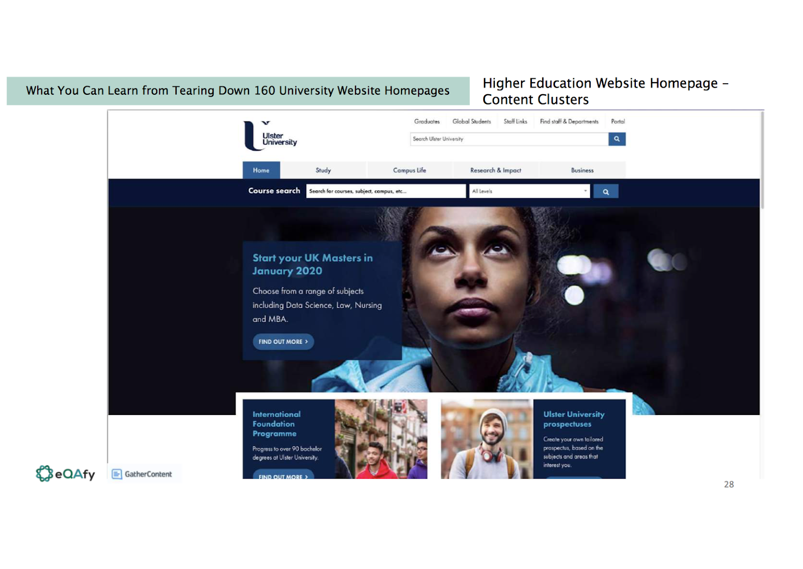 slide shows the Ulster university homepage which clearly shows the typical layout of a homepage.