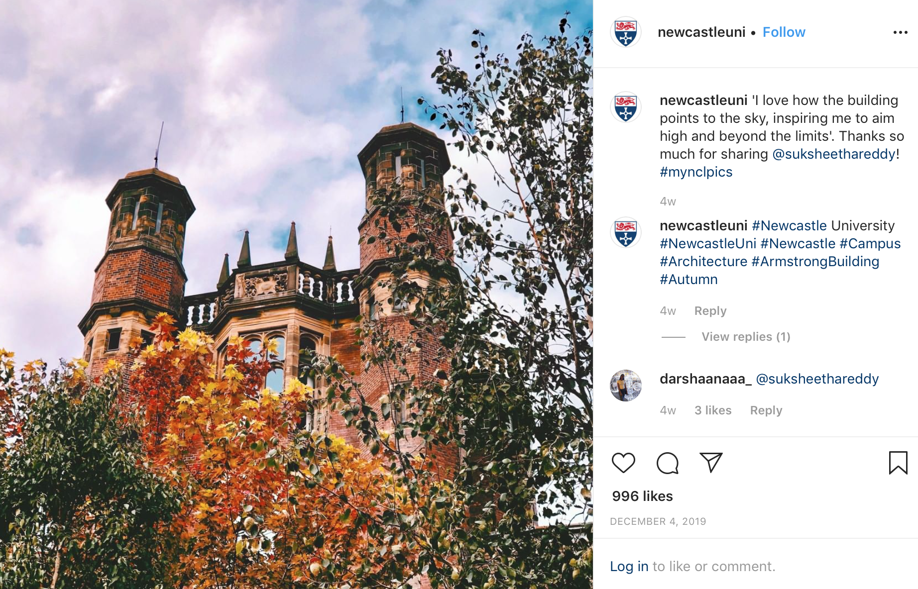 An Instagram image of a Newcastle University building with trees and sky. The caption from a student says 'I love how the building points to the sky, inspiring me to aim high and beyond my limits.'