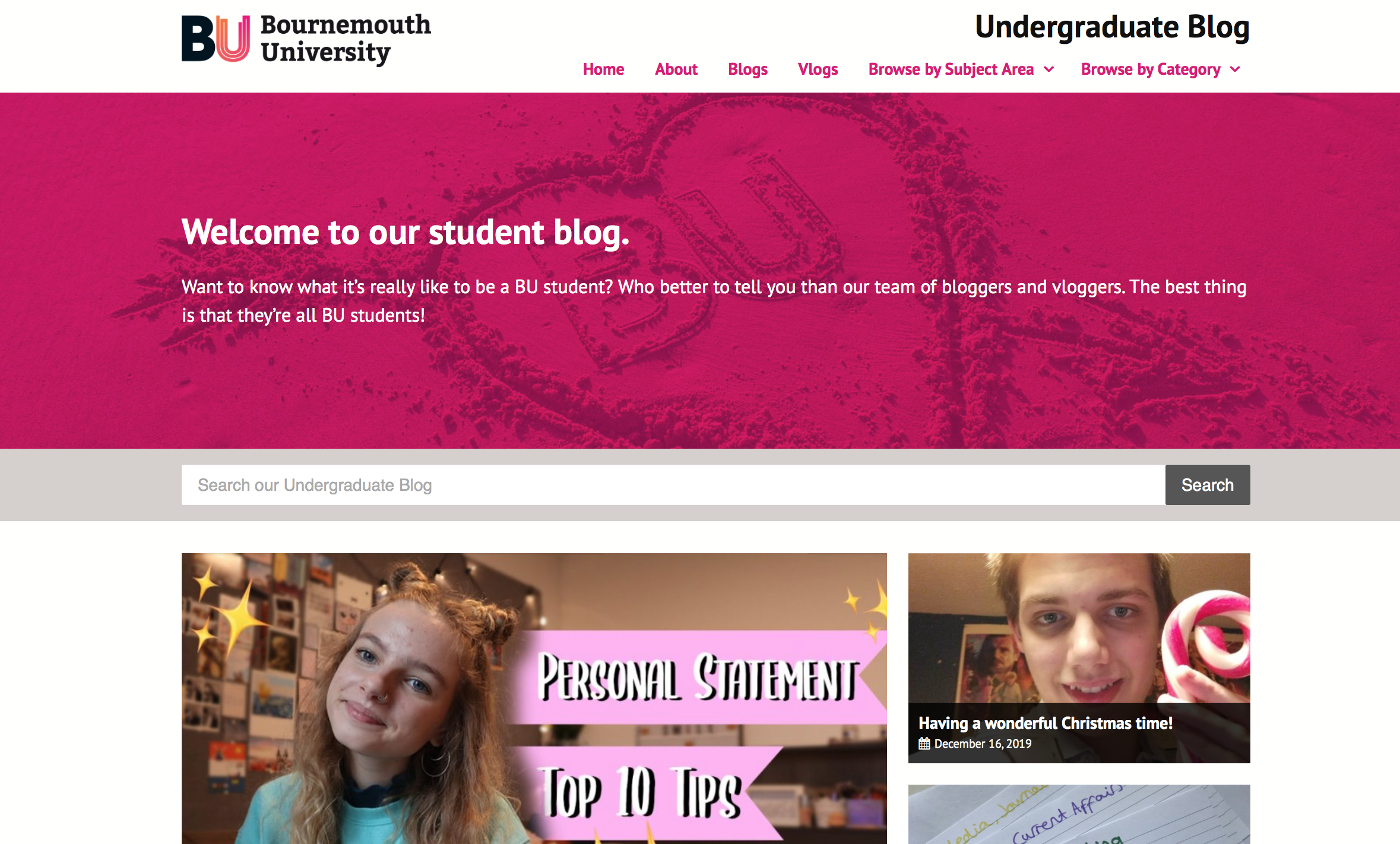 A screenshot of the Bournemouth University student-led blog homepage, showing an article for 'personal statement top tips.'