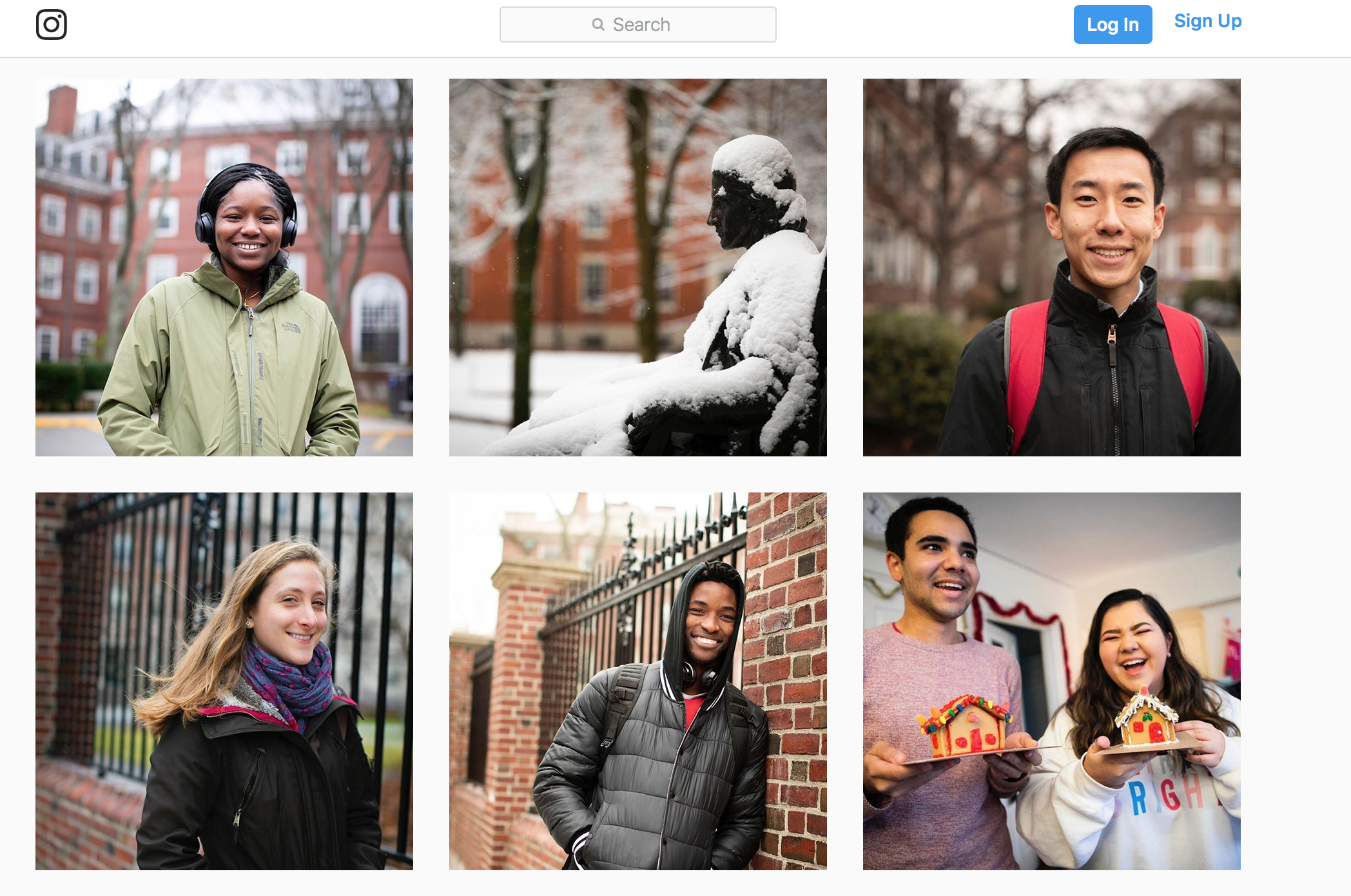 A screenshot from Harvard's Instagram profile, showing several posts of individual students smiling.