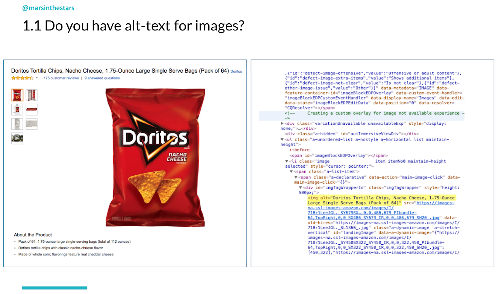 Slide shows alt text describing a packet of Doritos - which is 'Doritos Tortilla Chips, Nacho Cheese, 1.75 Ounce, Large Single Serve Bags (Pack of 64).