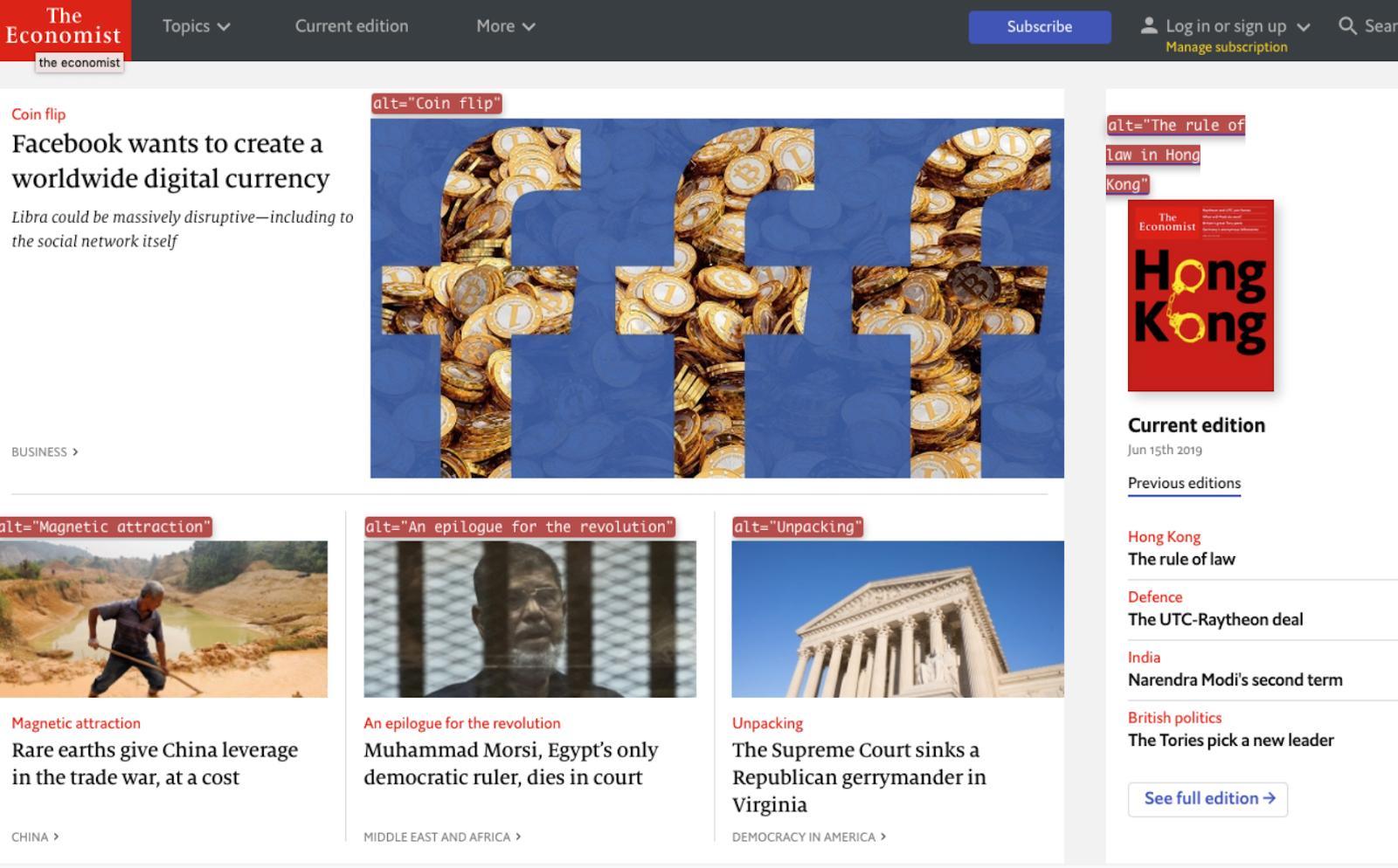 Slide shows the alt text on images on the Economist website