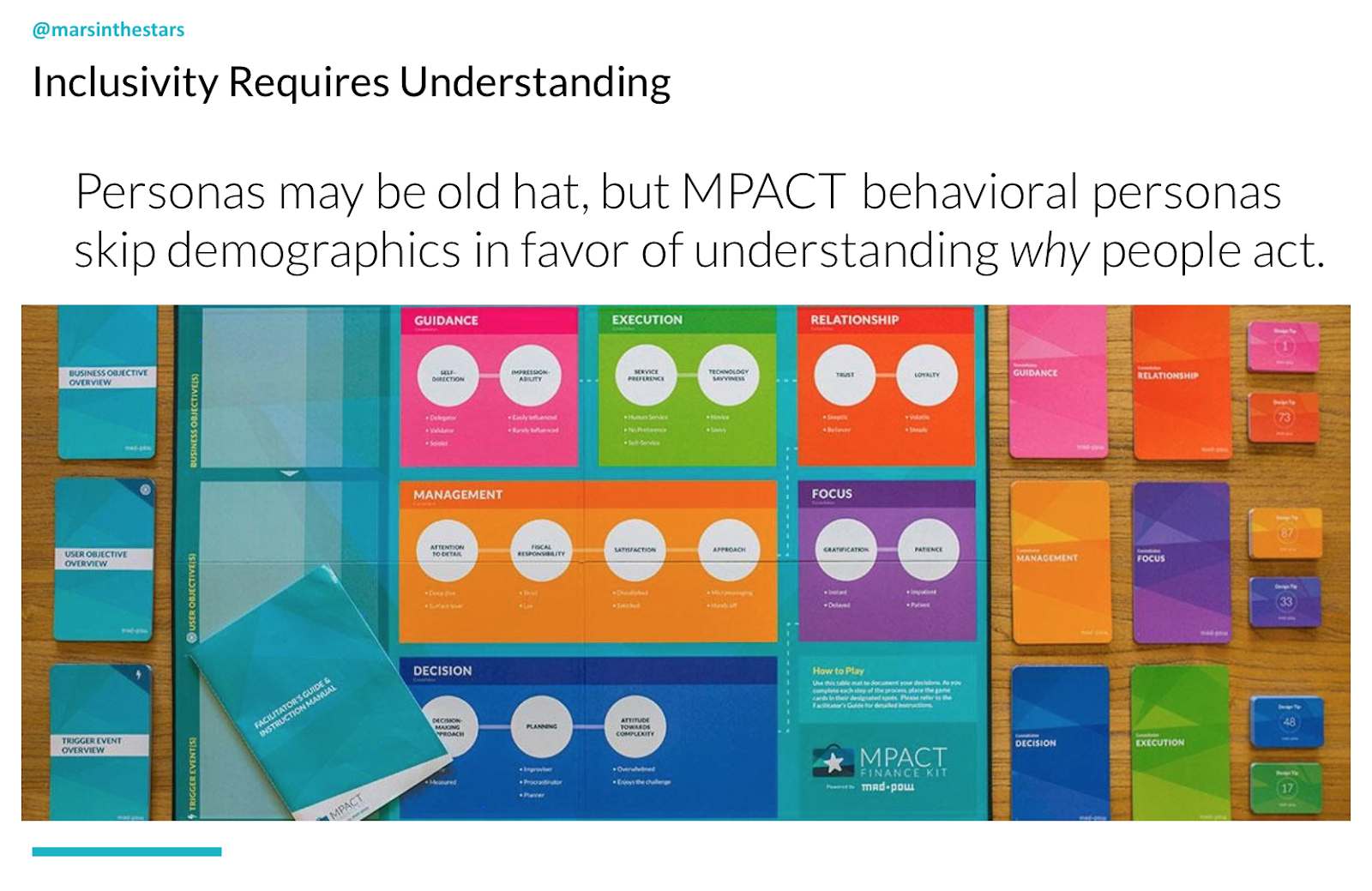 Slide shows inclusivity is understanding. It shows the MPACT board. Personas may be old hat, but MPACT behavioural personas skip demographics in favour of understanding why people act.