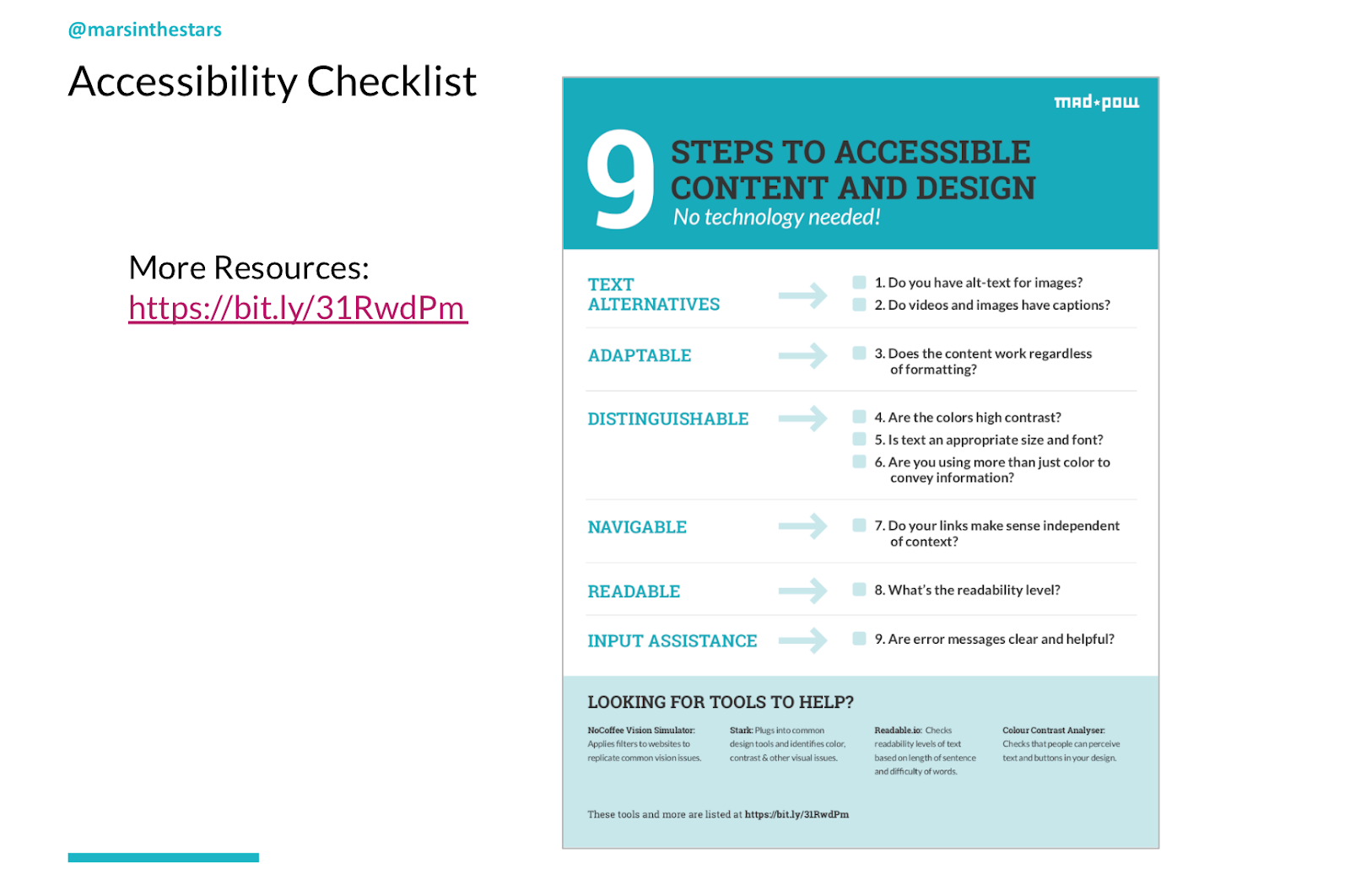 Slide shows an image of the accessibility checklist linked above.