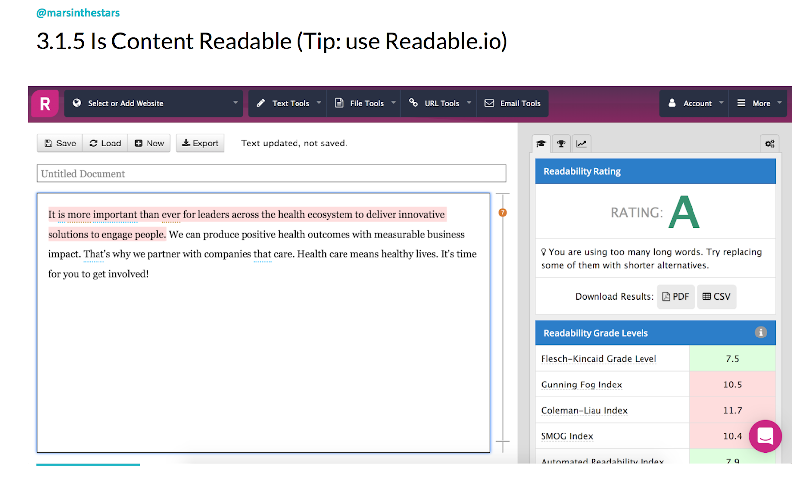 """Slide shows some text in the readable app which is graded using Flesch-Kincaid Grade Level, Gunning Fox Index, Coleman-Liau Index and SMOG Index. It shows the readability rating and tips for improving it (e.g. """"you are using too many long words. Try replacing them with shorter alternatives."""")"""