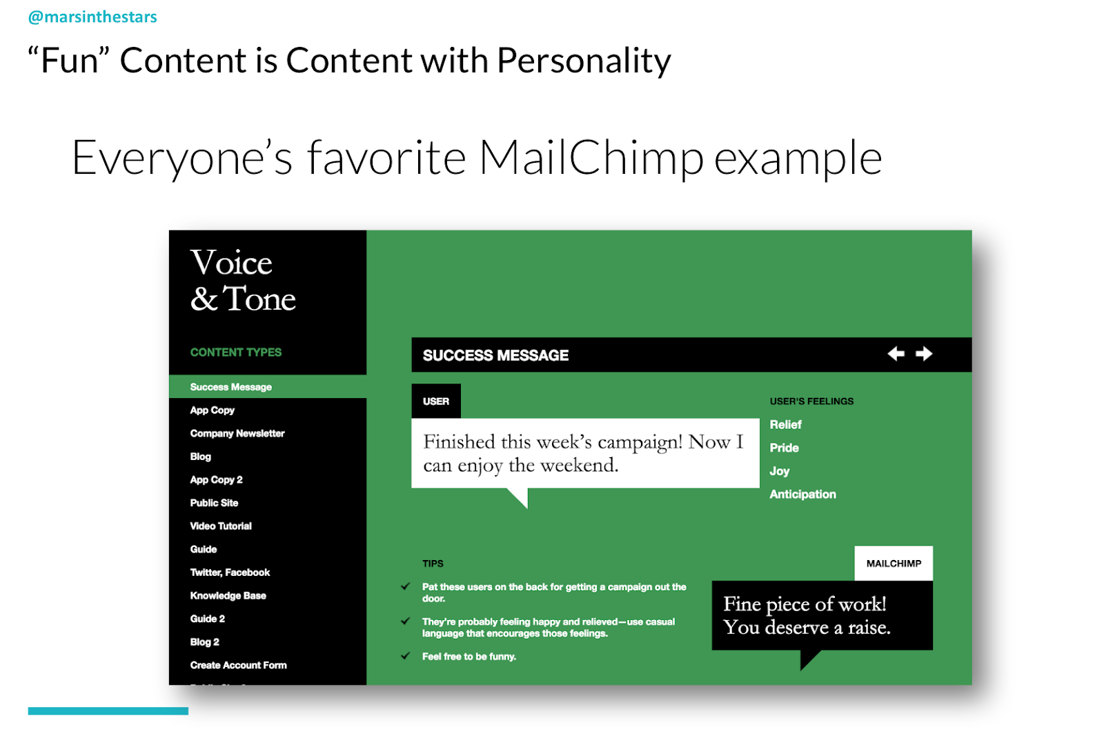 Slide shows Mailchimp's old voice and tone guidelines which show we can be fun, and inject personality into content. It shows their success message should be matched to user feelings of relief, pride, joy and anticipation when they finish a project. The message is 'fine piece of work! You deserve a raise.'