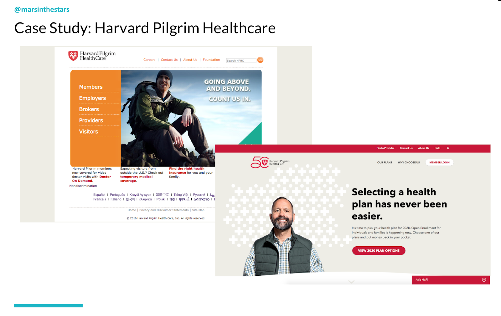 Slide shows the Harvard Pilgrim Healthcare website, which is simple and easy to read