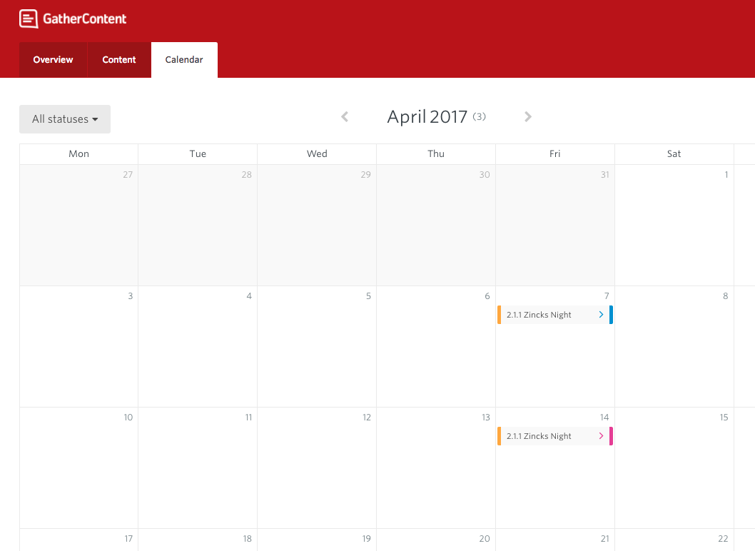 Image shows Content calendar in GatherContent