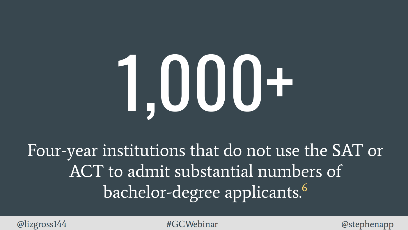 Image shows statistic: More than 1000 four-year institutions do not use the SAT or ACT to admit substantial numbers of bachelor-degree applicants