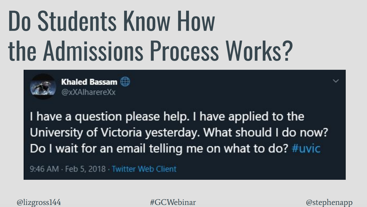 Image shows a student Twitter post asking about the University of Victoria admissions process