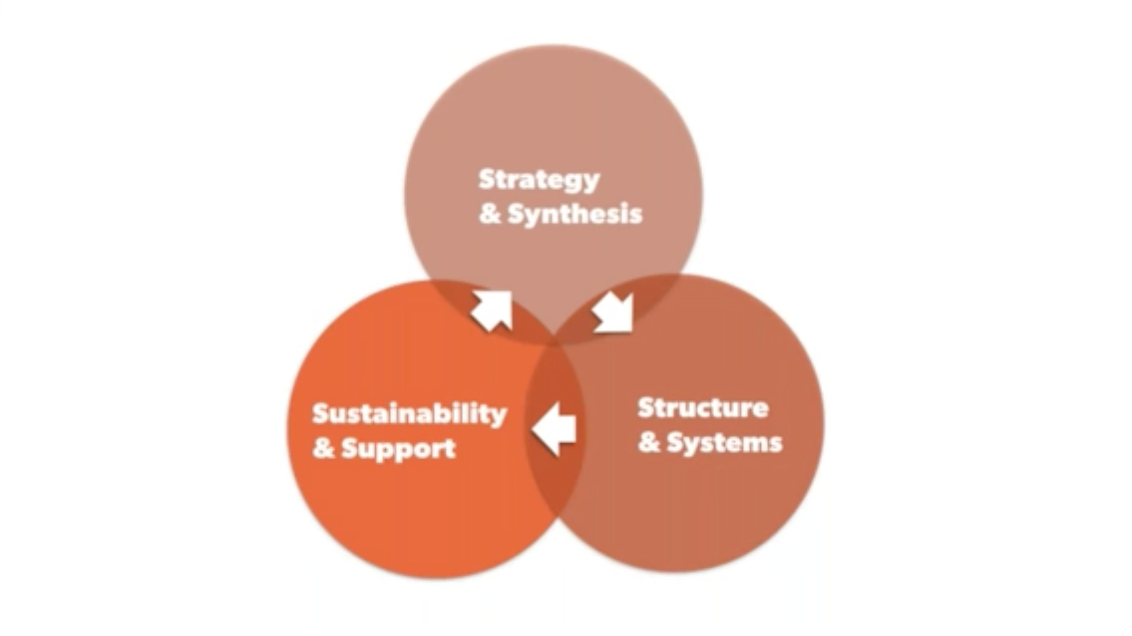Image shows venn diagram with strategy and synthesis, sustainability and support, and structure and systems