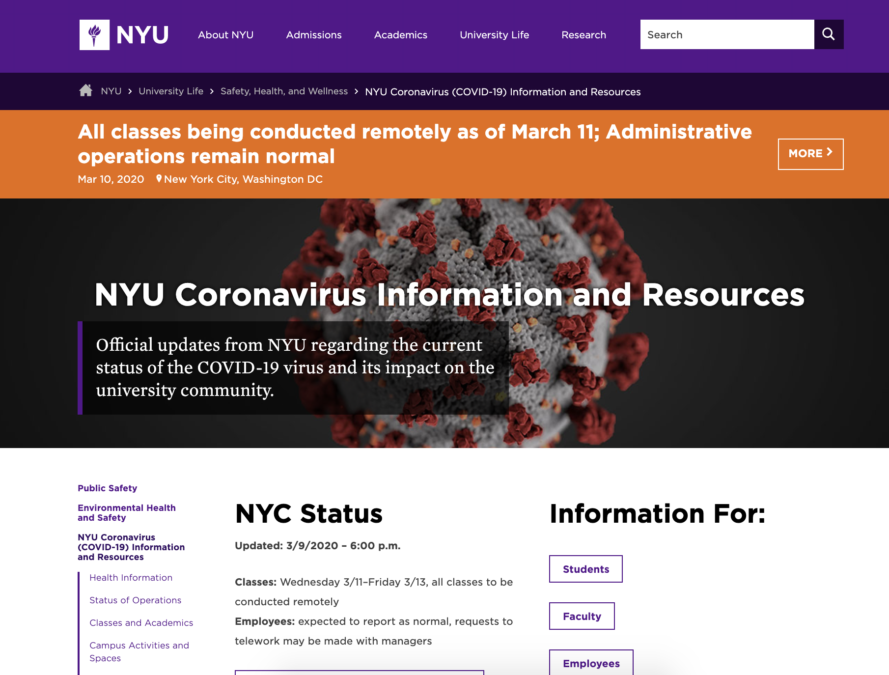 A screenshot of the NYU website for the COVID19 content updates