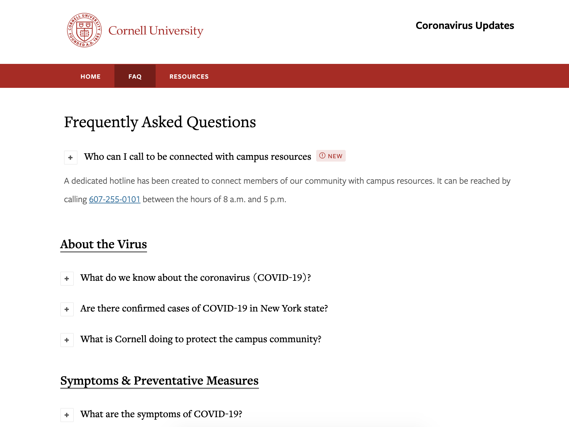 A screenshot from the Cornell University website showing their FAQ page about the coronavirus.