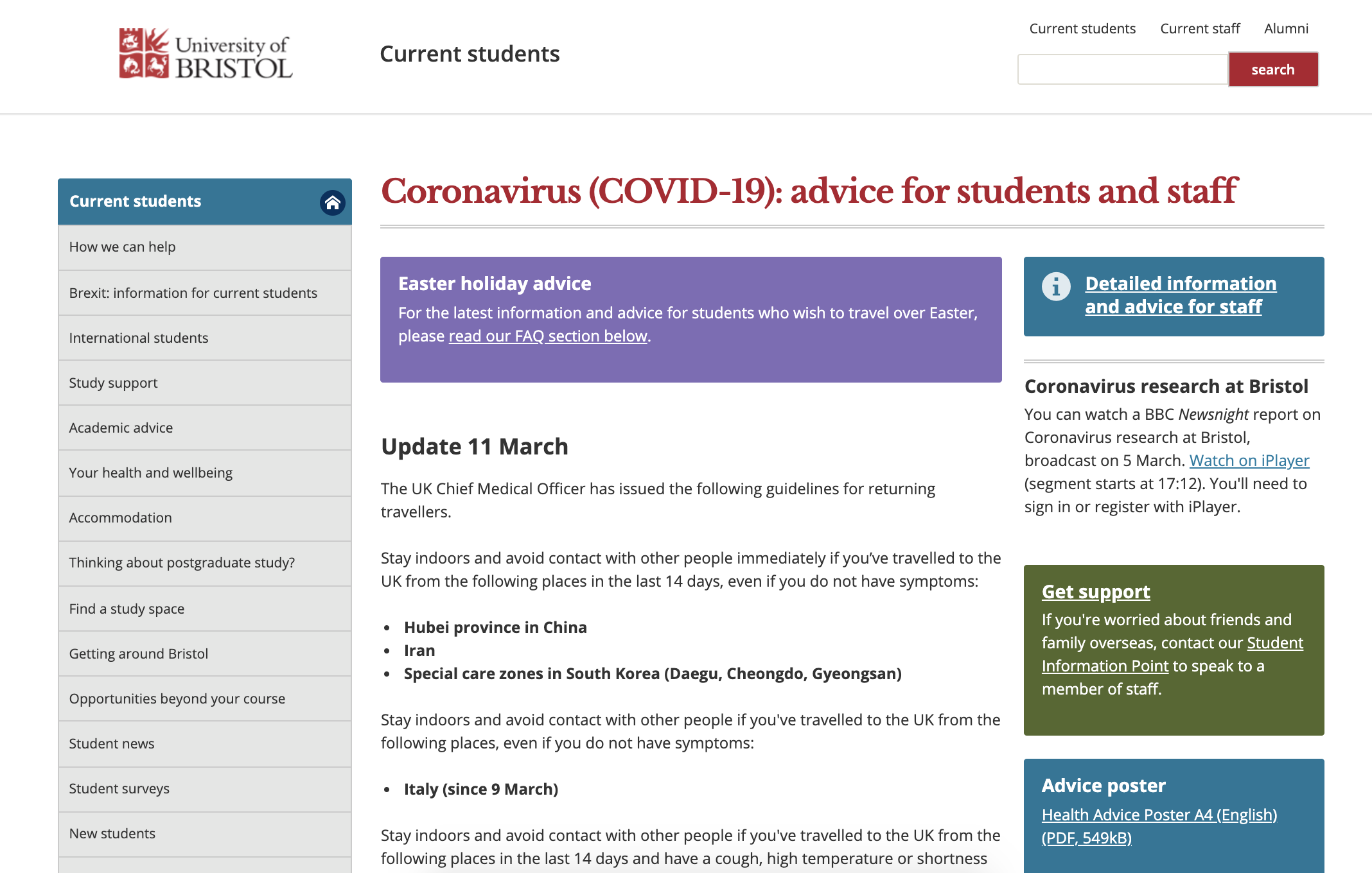 A screenshot of the coronavirus website content on the University of Bristol website. Images shows updates and different content types such as resource links and downloadable posters.