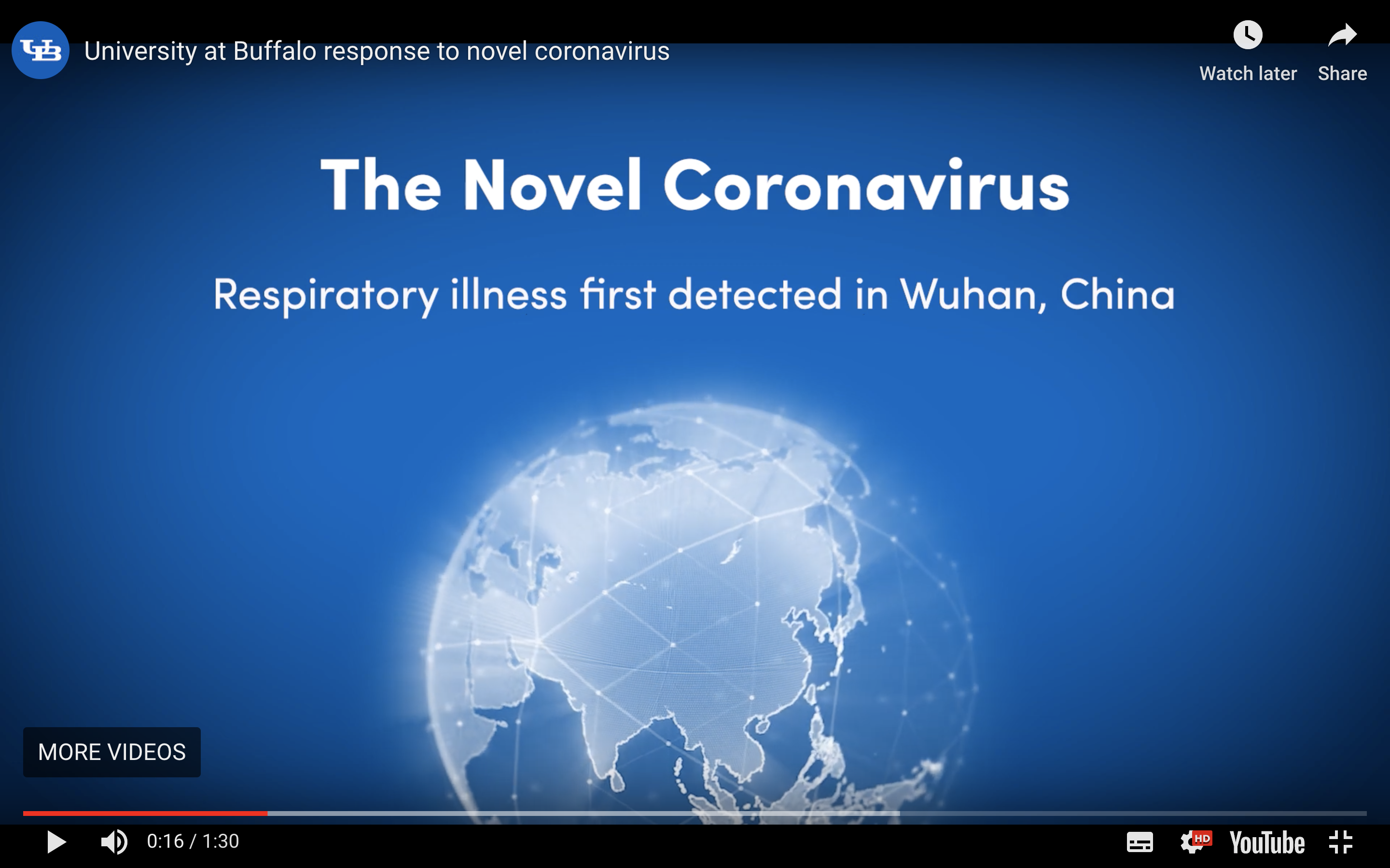 A screenshot of the coronavirus informational video produced by the University at Buffalo.