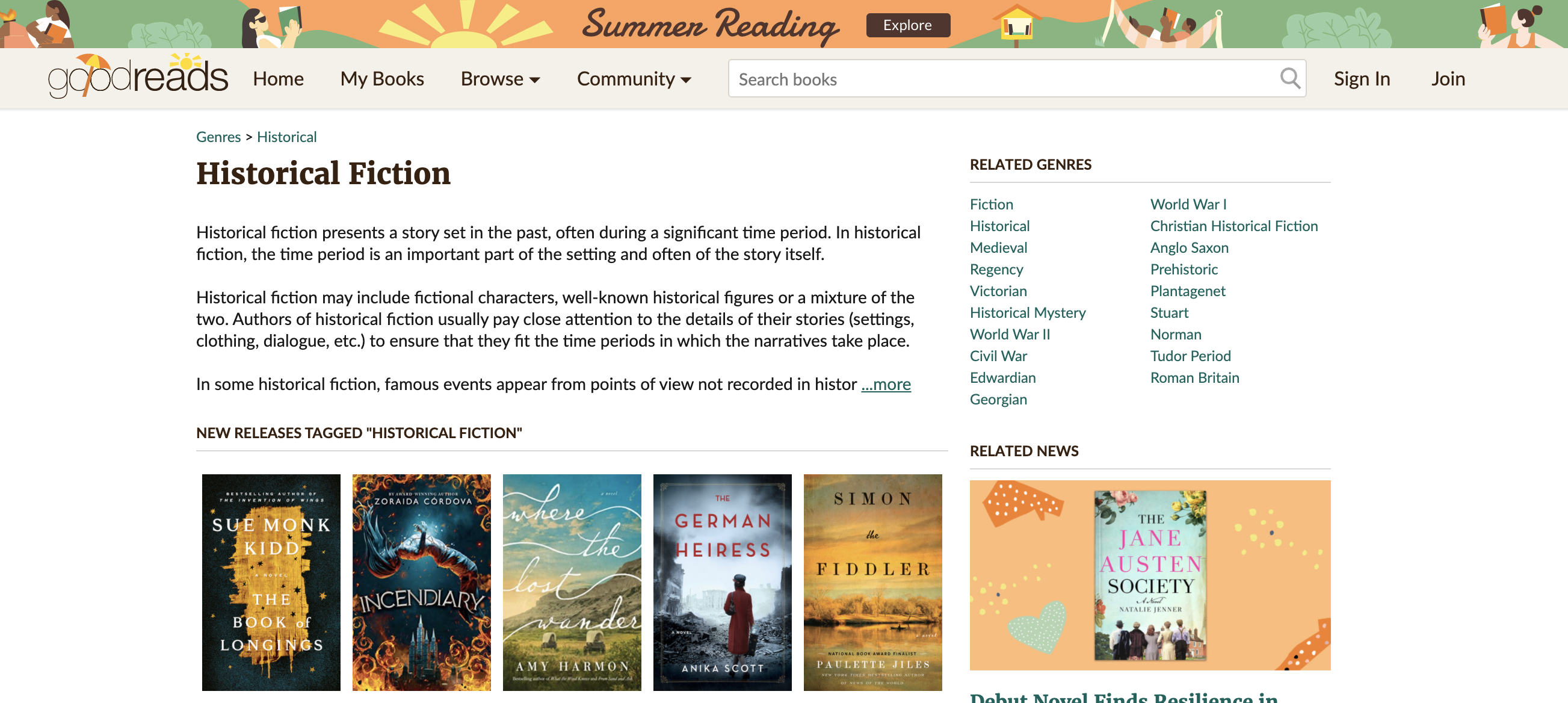 A search page on the Goodreads website with results for historical fiction listed.