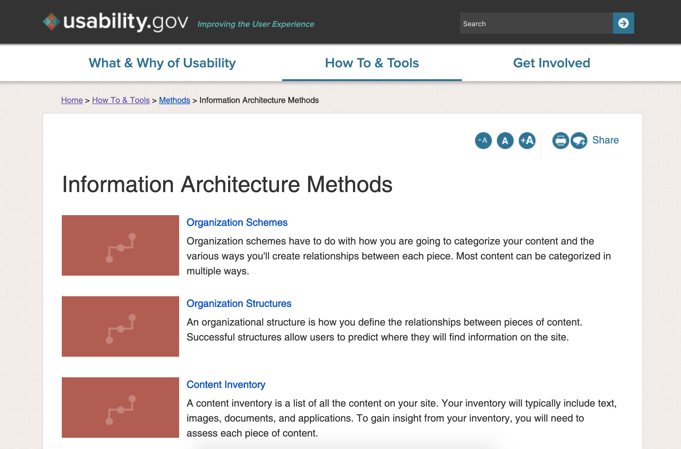 A screenshot from the usability.gov website showing a list of their resources on information architecture methods.