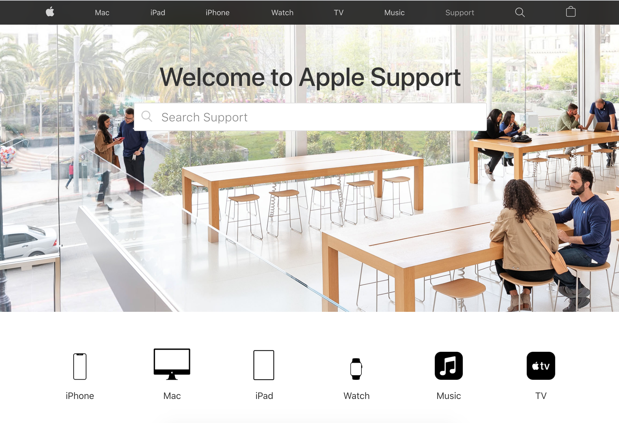 The Apple support website showing the search bar and icons for their different products.