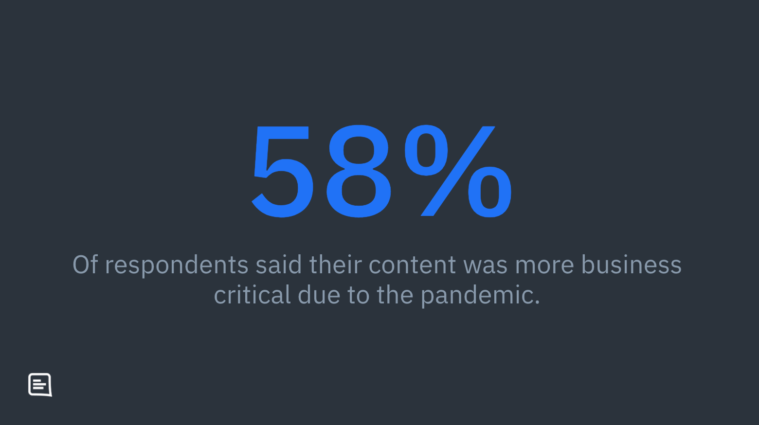 A slide showing the stat of 58% with the text explaining this is the percentage of survey respondents that said their university content was more business critical due to the pandemic.