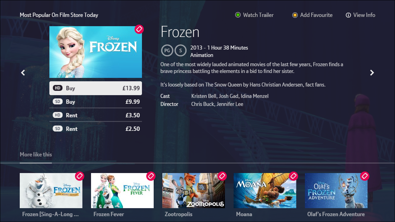 A screenshot from the BT TV interface. This shows the content when a particular film is chosen. Image shows a thumbnail of the movie, Frozen along with options and prices for buying and renting the movie, a synopsis. release date, rating, duration, category and the cast and director.