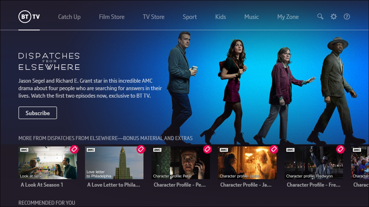 A screenshot of the BT TV interface. This shows an image and description of a programme called Dispatches from Elsewhere. Includes a call to action to subscribe to the program and shows thumbnails for additional content such as bonus material and extras.