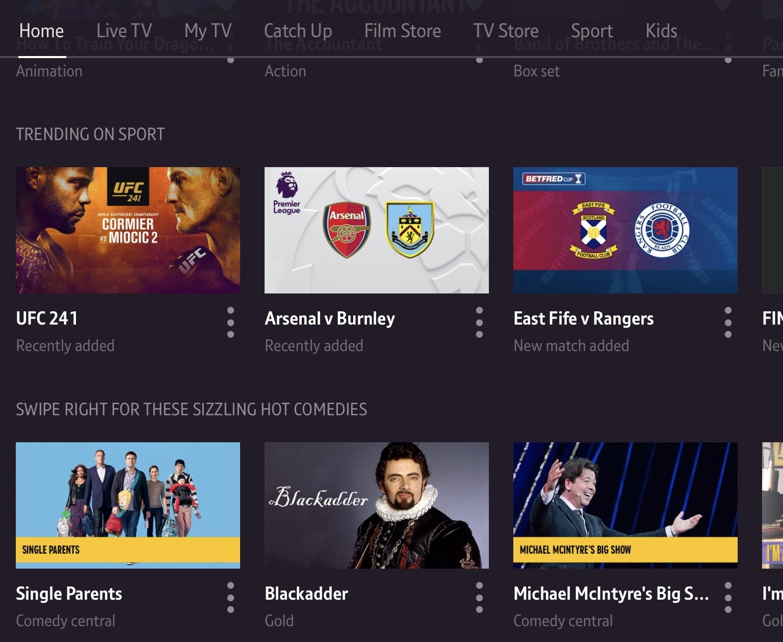 A screenshot from the BT TV interface. This shows three thumbnails for programmes trending under the category, sport.