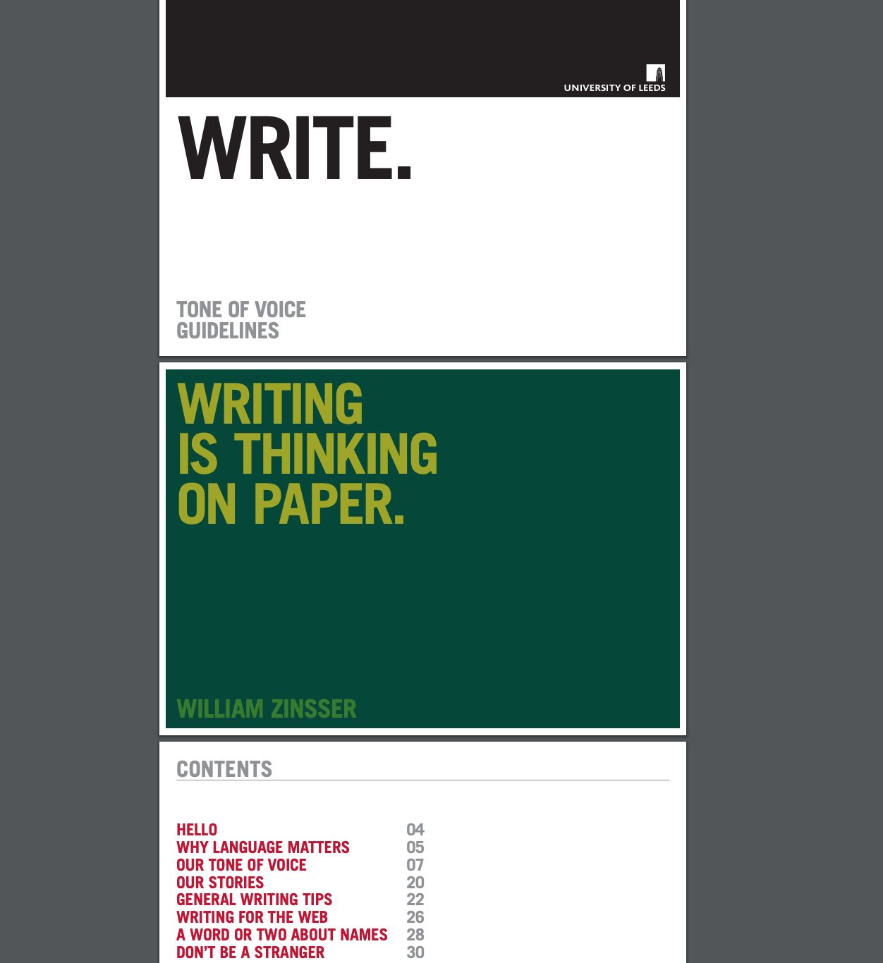 A screenshot showing some pages from the University of Leeds content style guide. Page one has the heading 'Write: tone of voice guidelines'. Page two says in a large font, 'Writing is thinking on paper.' Page three shows the table of contents for the style guide.