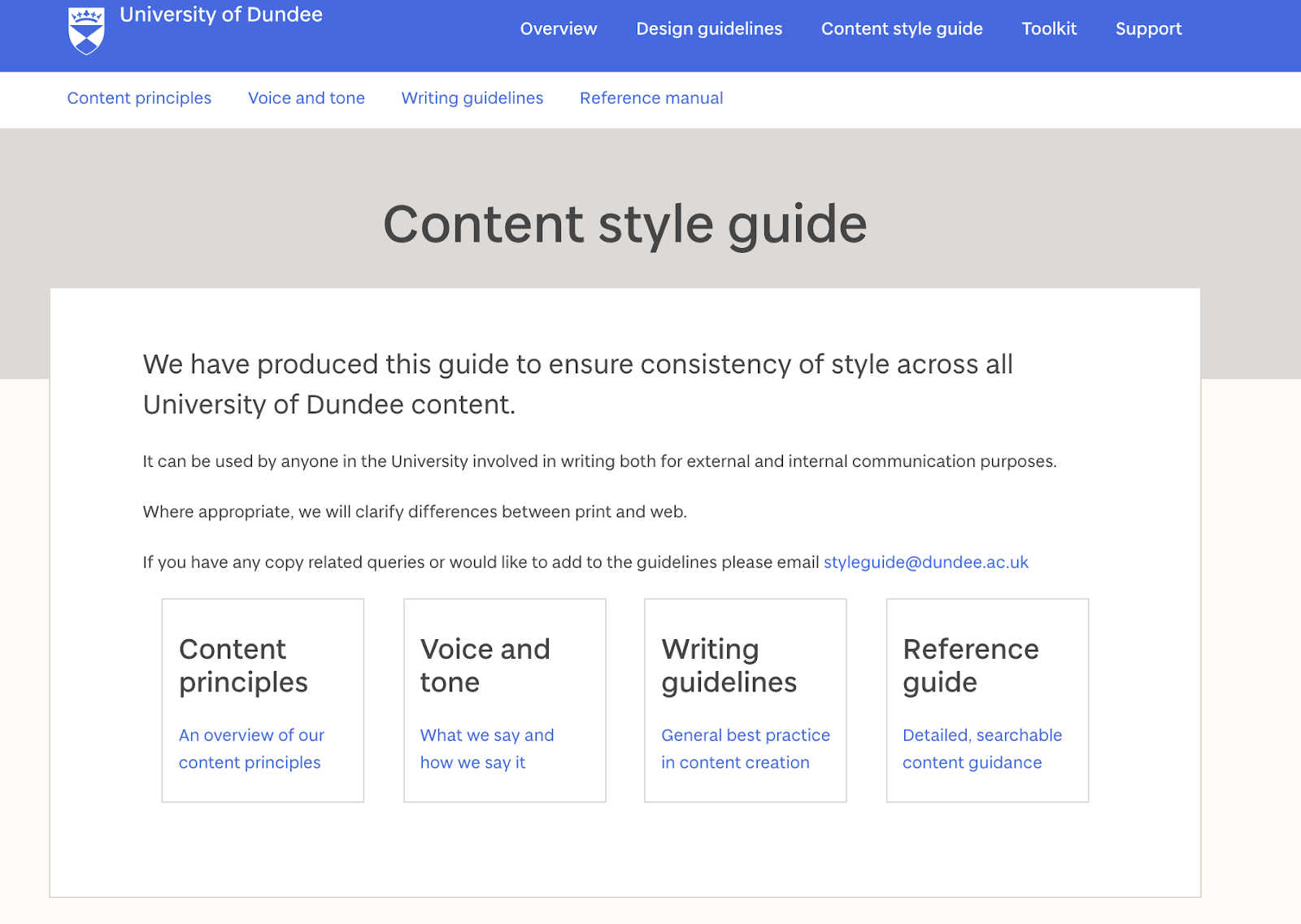 A screenshot of the University of Dundee content style guide. This is an online guide and the image is the main page with content style guide as the main heading and navigation items such as content principles, voice and tone, writing guidelines and reference manual.