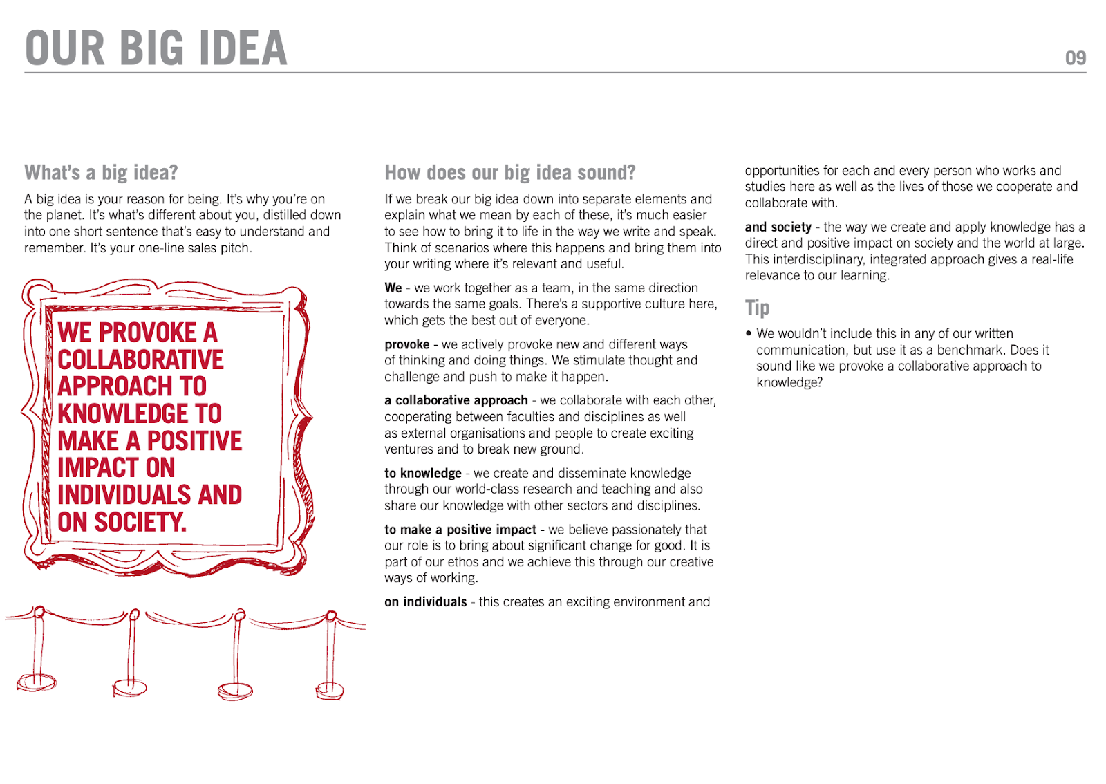 An image showing a page from the University of Leeds content style guide. This page uses text to share their big idea. Their big idea is: we provoke a collaborative approach to knowledge to make a positive impact on individuals and on society. The page shares the big idea and then breaks it down into separate elements by discussing indiviudal words such as 'we', 'provoke' and 'society'.