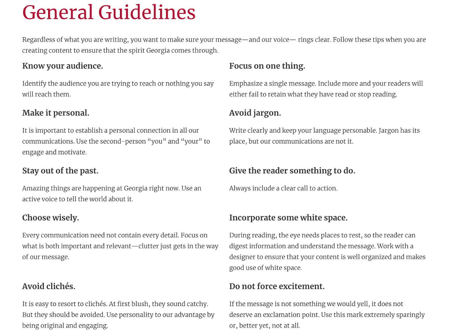 This image shows a section of the brand style guide for the University of Georgia. It lists some general guidelines such as know your audience, make it personal, focus on one thing, avoid jargon, and give the reader something to do.