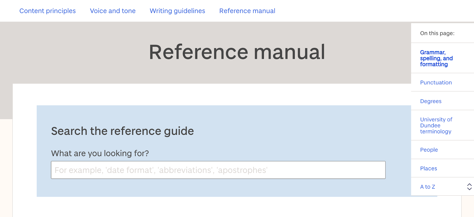 An image showing the reference manual section of the online content style guide for the University of Dundee. It simply shows the search bar for the guide.