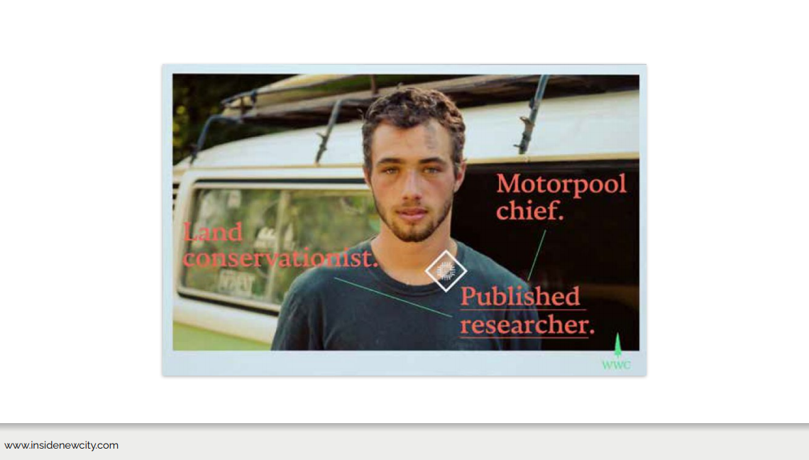A screenshot of the Warren Wilson College website. This shows a photo of a student looking at the camera with text overlaid saying, 'Land conservationist', 'Motorpool chief', and 'Published researcher.'