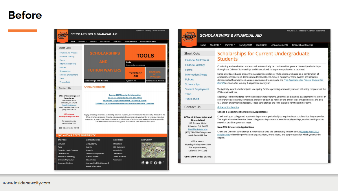 A slide showing what the Oklahoma State University website used to look like. It is text heavy, lots of grey, orange and black text and boxes.