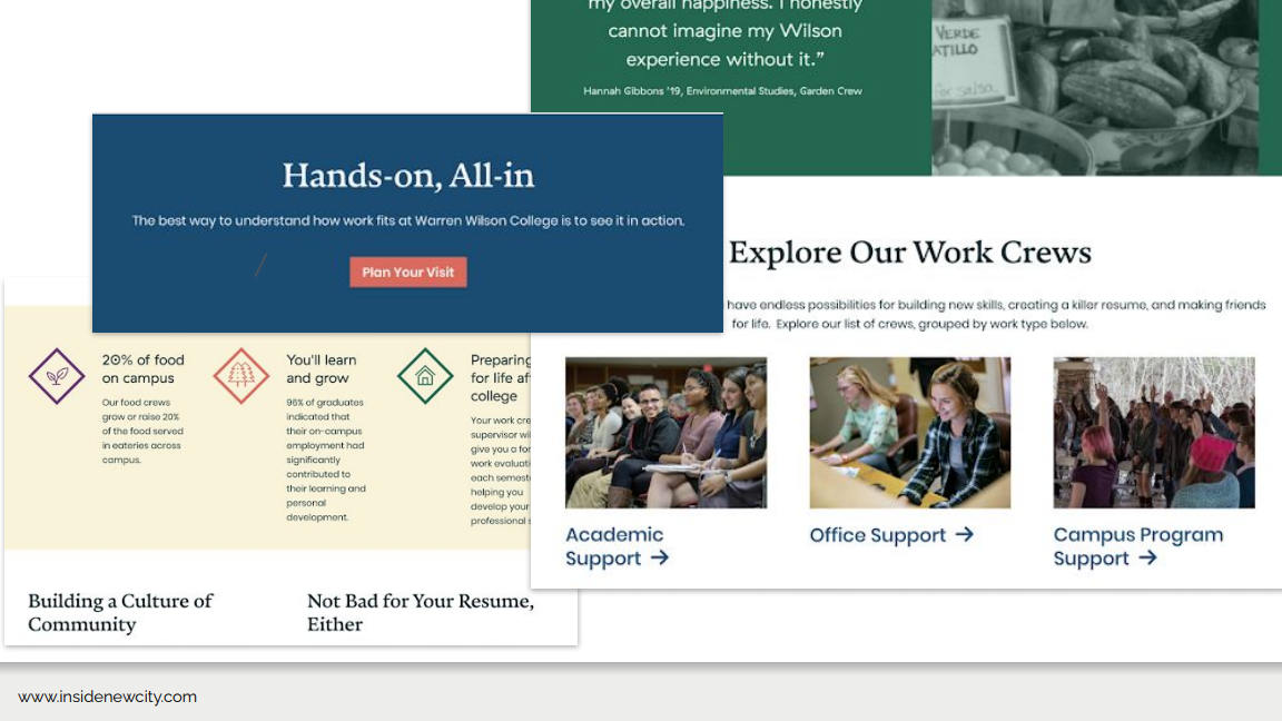 Another screenshot of the Warren Wilson College website. This image shows a call to action box that says 'Hands-on, All-in. The best way to understand how work fits at Warren Wilson College is to see it in action.' Then there is a button that says 'Plan Your Visit.'