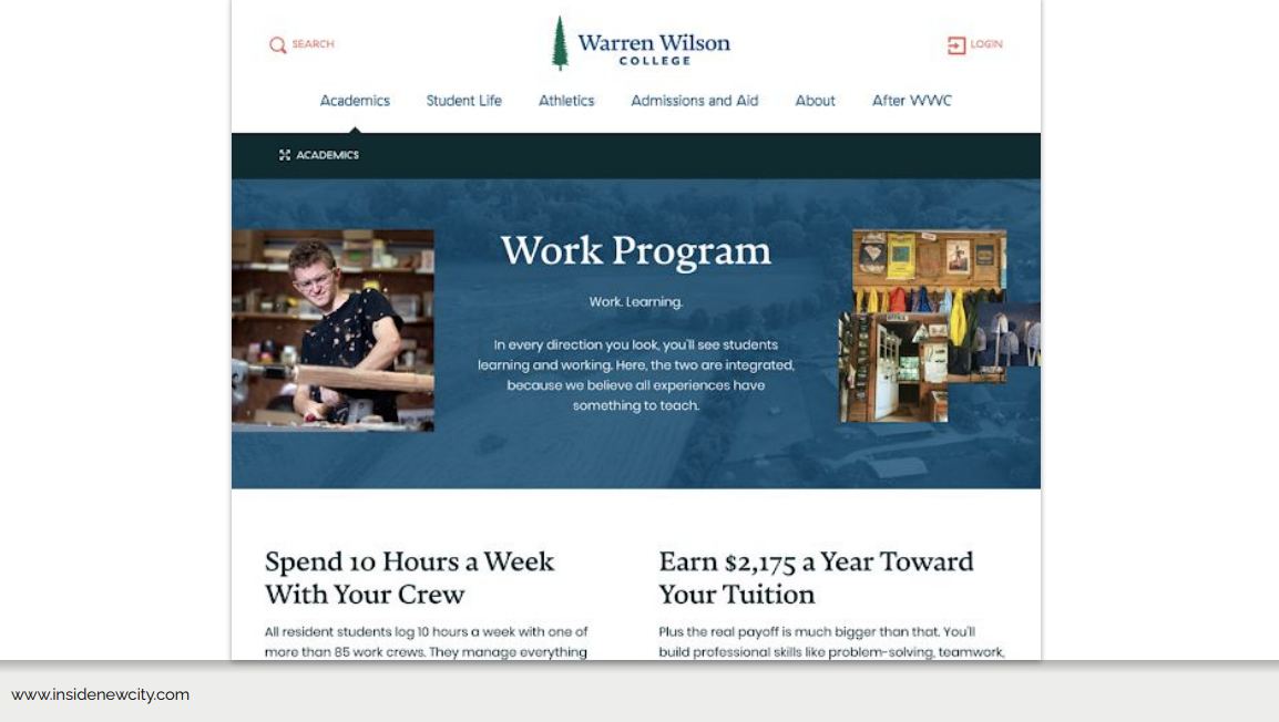 Another page from the Warren Wilson College website. This page is the Academics main page with text about their work program.
