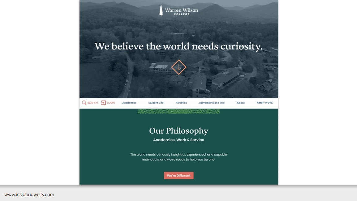 A slide from a webinar which shows the homepage for the Warren Wilson College homepage. There's a campus image with text overlaid saying 'We believe the world needs curiosity.' Underneath they have their philosophy and navigation.