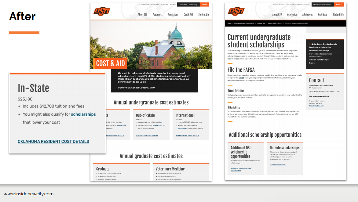 The Oklahoma State University website after its redesign. Noe there is a lot more white space, content is structured in boxes and there are headings to help users find the information they need.