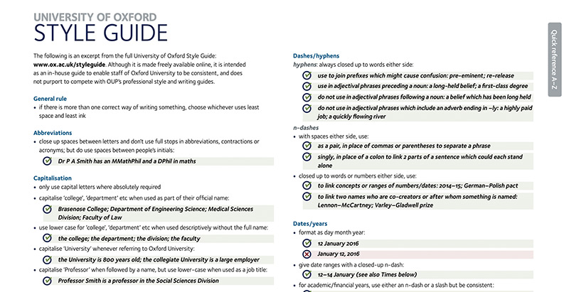 The online University of Oxford style guide. This image shows some of the rules around capitalisation, abbreviations and formatting dates.