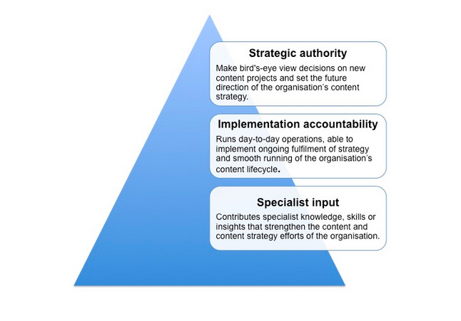 A blue triangle with three boxes of text down its side. The top box says Strategic authority, the middle one says Implementation accountability and the lowest box says Specialist input.