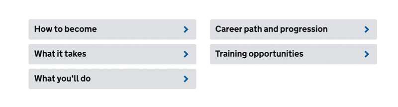 An example of job profile headings.