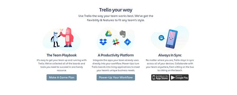 A screenshot from Trello showing 'Trello your way.'